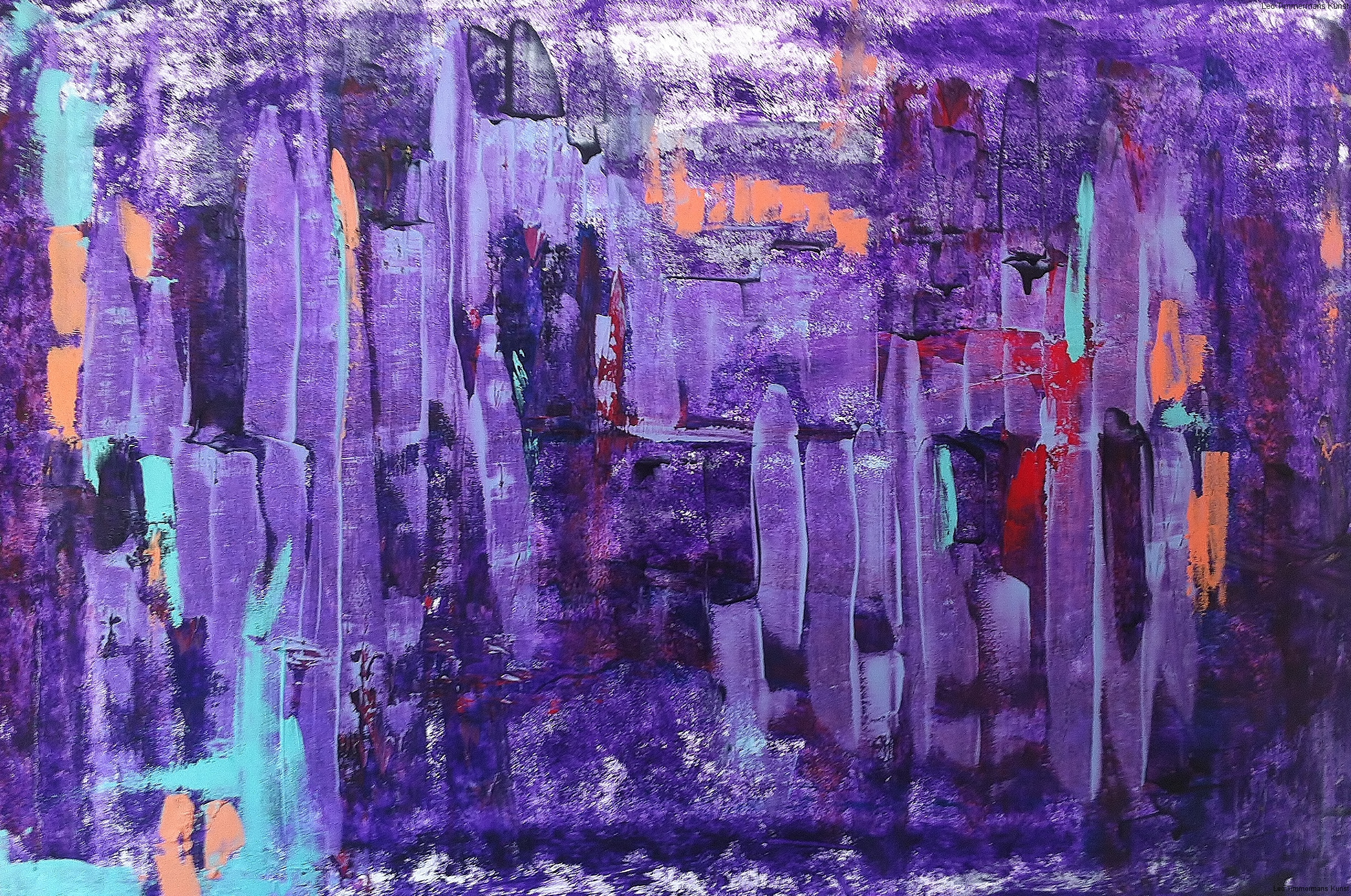 """Purple rain"" 80x120cm te koop"